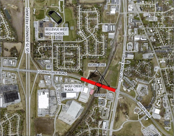 Construction Work on the Median of Cornhusker Road Between 10th Street and Fort Crook Rd to Begin on Monday, May 8th