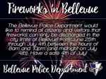 Firework Sales allowed in Bellevue Starting on Monday, June 25th through July 4th