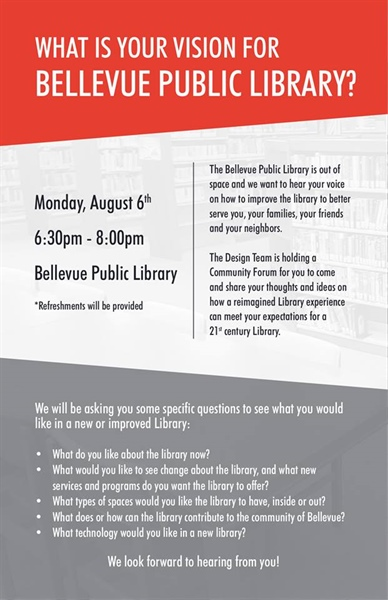 Design Team to Host Forum to Discuss the Vision for the Bellevue Public Library