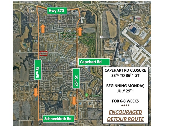 Bellevue Public Works Department Announces Capehart Rd from 36th to 33rd St will be Closed Starting on Monday, July 29th